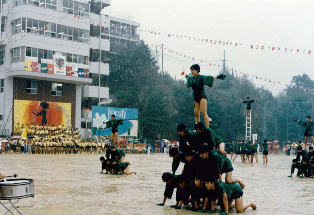雨の中の体育祭